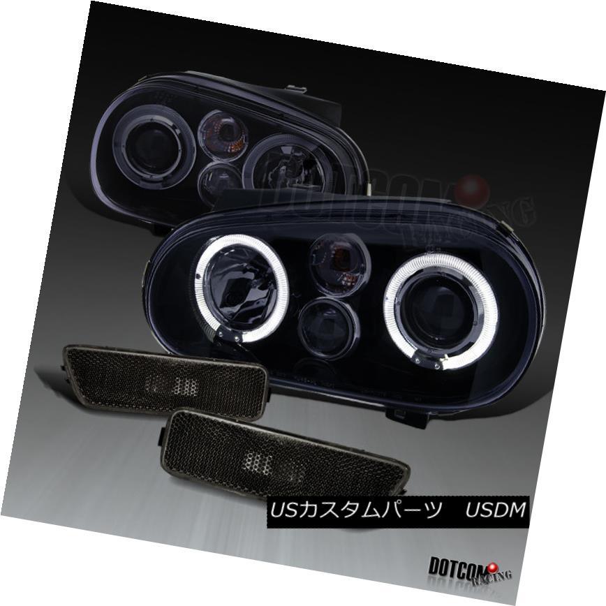 ヘッドライト Glossy Black For 1999-2005 VW Golf Halo Projector Headlights+Smoke Corner Lamps 1999-2005 VWゴルフ用ハロープロジェクターヘッドライト+スモーホワイト用光沢ブラック keコーナーランプ