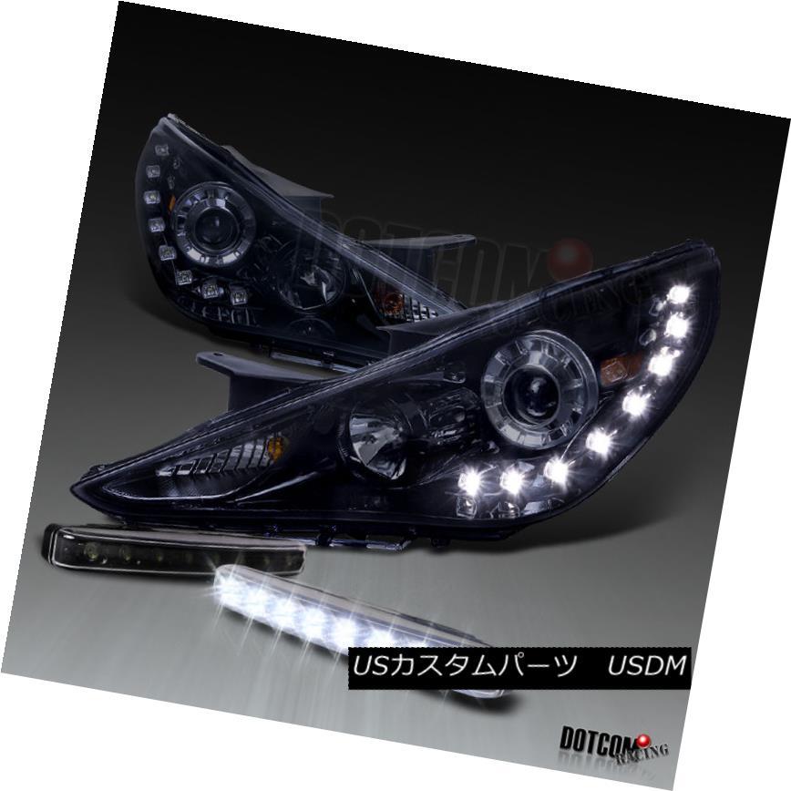 ヘッドライト For Glossy Black 2011-2014 Sonata Projector Headlight w/ SMD LED DRL+8-LED Fog Glossy Black 2011-2014 Sonataプロジェクターヘッドライト(SMD LED DRL + 8-LEDフォグ)用