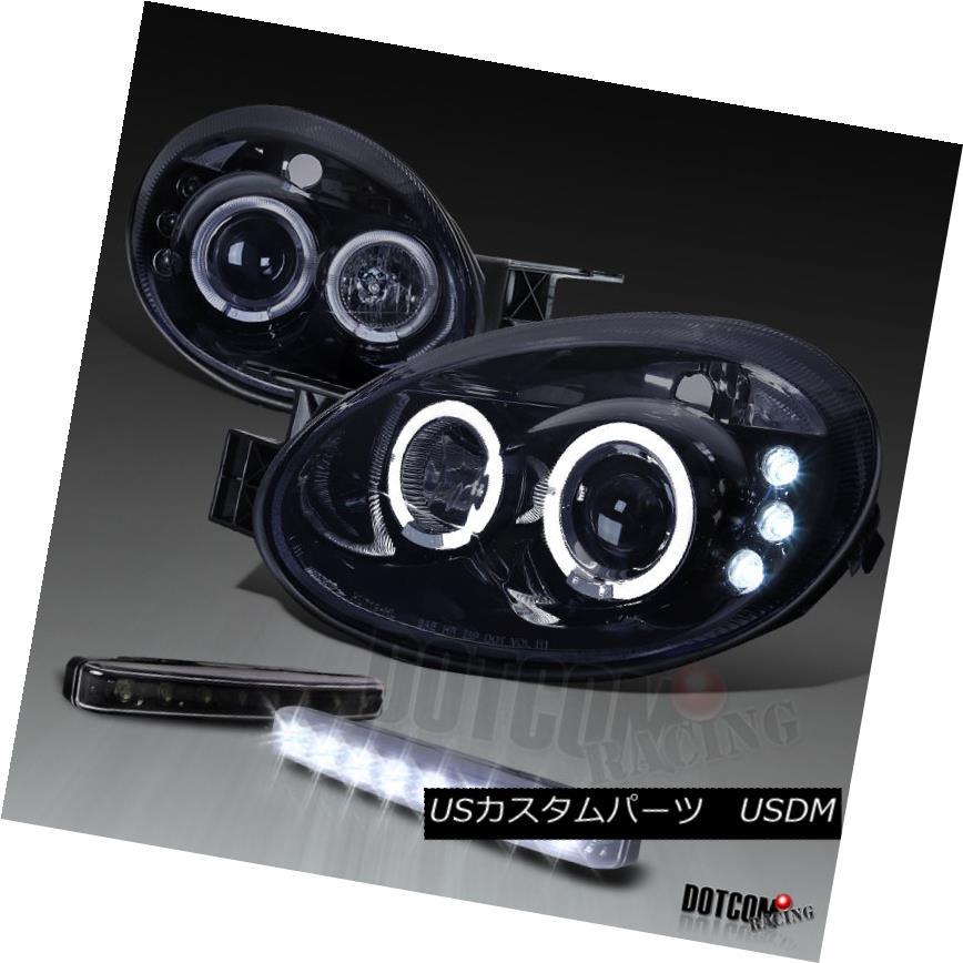 ヘッドライト Glossy Black 2003-2005 Neon Halo Projector Headlights+LED Bumper DRL Fog Lamps Glossy Black 2003-2005 Neon Haloプロジェクターヘッドライト+ LEDバンパーDRLフォグランプ