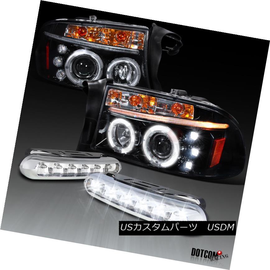 ヘッドライト Piano Black 97-04 Dakota Halo Projector Headlights+LED Daytime Lights Fog ピアノブラック97-04ダコタハロープロジェクターヘッドライト+ LEDデイタイムライトフォグ
