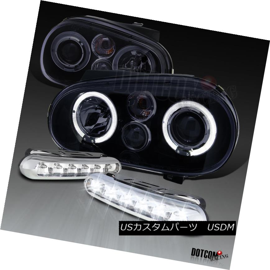 ヘッドライト Glossy Black Fit 1999-2005 Golf Halo Projector Headlights w/ LED DRL Fog Lamps 光沢ブラックフィット1999-2005ゴルフハロープロジェクターヘッドライトLED DRLフォグランプ