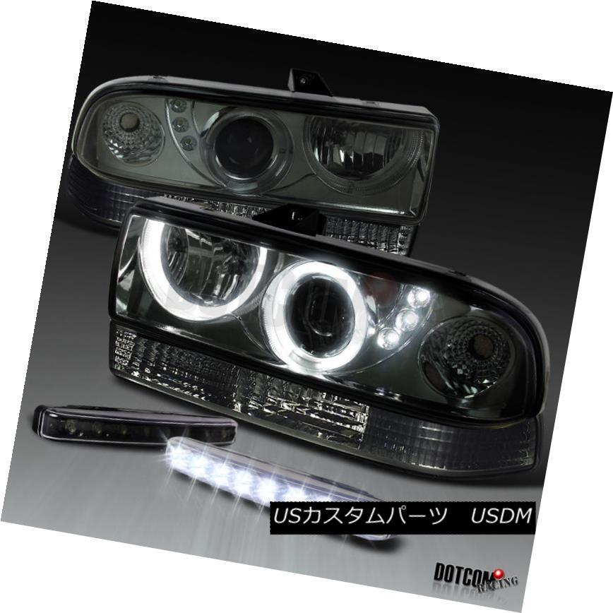 ヘッドライト 98-04 S10 Blazer Smoke SMD Halo Projector Headlights+Bumper Lamps+LED Fog DRL 98-04 S10 Blazer Smoke SMD Haloプロジェクター・ヘッドライト+ランプごとのブーム + LEDフォグDRL