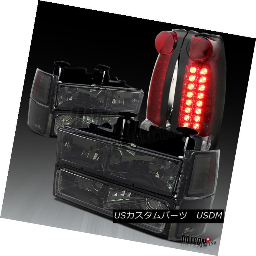 ヘッドライト 94-98 Chevy C10 1500 Smoke Headlights+Bumper Corner Lamp+Red/Clear LED Tail Lamp 94-98シェビーC10 1500スモークヘッドライト+バーン /コーナーランプ+レッド/クリアLEDテールランプ