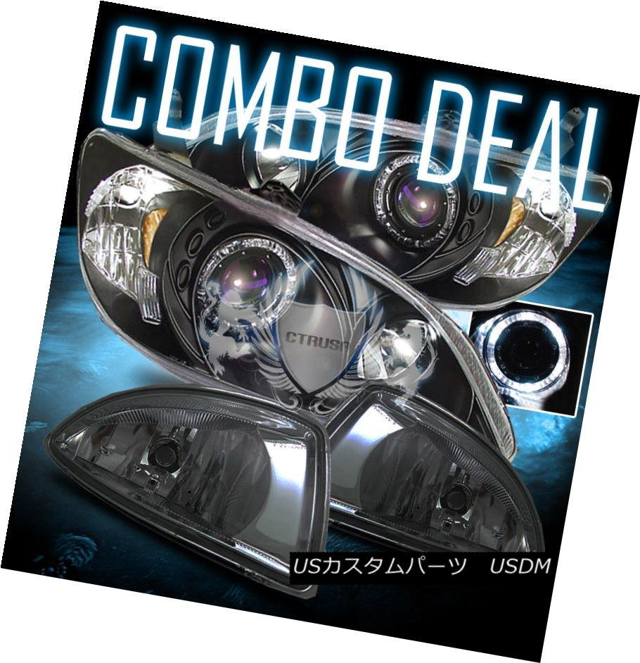 ヘッドライト 04-05 Honda Civic Coupe /Sedan Halo Projector Black Headlights /Smoke Fog Lamps 04-05 Honda Civic Coupe / Sedan Haloプロジェクターブラックヘッドライト/スモークフォグランプ