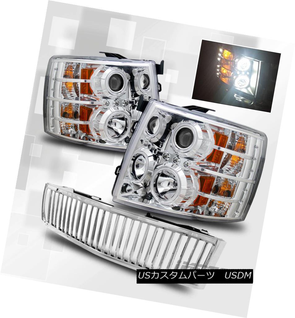 ヘッドライト [CCFL Halo] 2007-2013 Chevy Silverado LED Projector Headlights/Chrome VIP Grille [CCFL Halo] 2007-2013 Chevy Silverado LEDプロジェクターヘッドライト/ Chr  ome VIP Grille