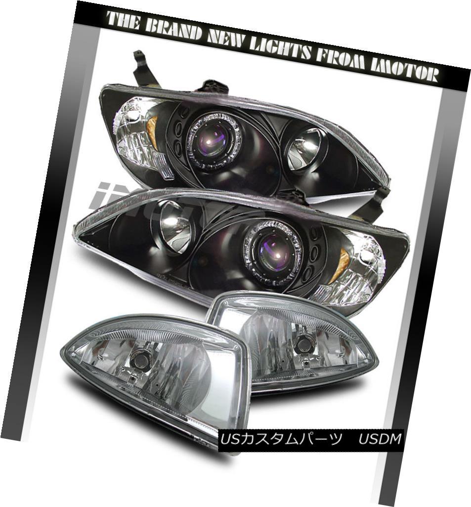 ヘッドライト 04-05 Honda Civic Coupe /Sedan Halo Projector Black Headlights /Clear Fog Lamps 04-05ホンダシビッククーペ/セダンハロープロジェクターブラックヘッドライト/クリアフォグランプ