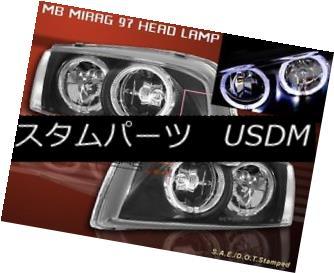 ヘッドライト 1997-2001 MITSUBISHI MIRAGE HEADLIGHTS TWO HALO JDM BLACK 1998 1999 2000 1997年?2001年ミツビシミラージュヘッドライト2本ハローJDMブラック1998年1999年2000年