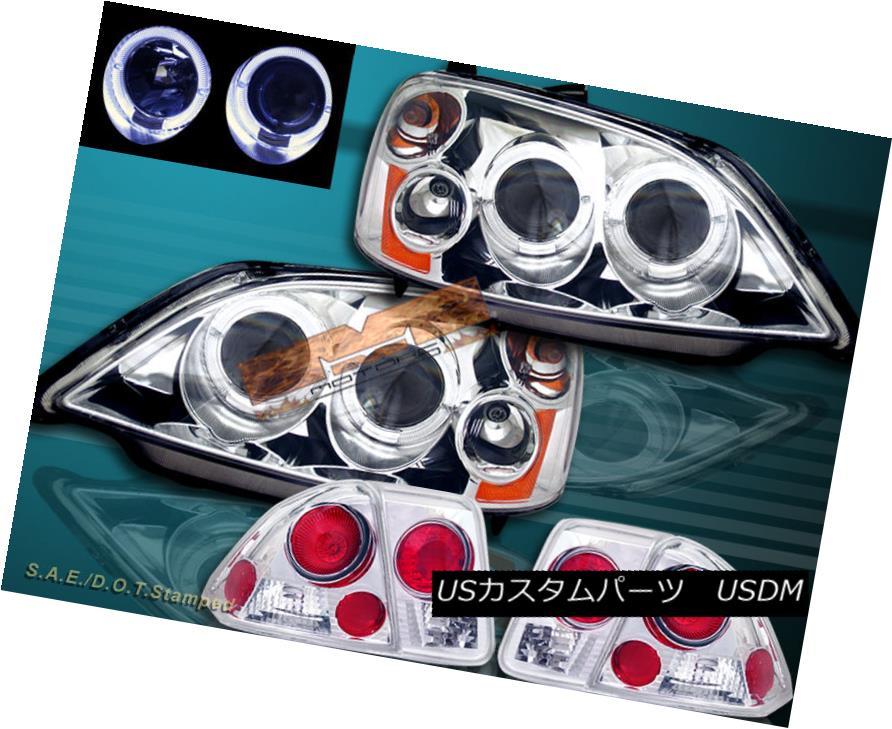 ヘッドライト 01 02 03 HONDA CIVIC 4 DR SEDAN 2HALO PROJECTOR HEADLIGHTS + TAIL LIGHTS 01 02 03ホンダシビック4 DRセダン・2HALOプロジェクターヘッドライト+テールライト