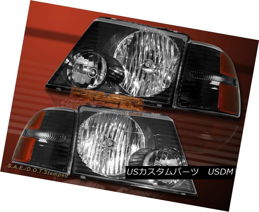 ヘッドライト 2002-2005 FORD EXPLORER HEADLIGHTS JDM BLACK + BLACK CORNER LIGHTS 4 PCS 03 04 2002-2005フォードエクスプローラーヘッドライトJDMブラック+ブラックコーナーライト4 PCS 03 04