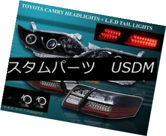 ヘッドライト 07 08 09 TOYOTA CAMRY DUAL CCFL HALO PROJECTOR HEADLIGHTS BLK + LED TAIL LIGHTS 07 08 09トヨタキャンプデュアルCCFLハロープロジェクターヘッドライトBLK + LEDテールライト