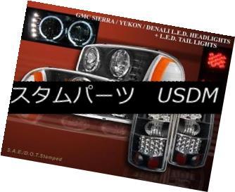 ヘッドライト 2000-06 GMC YUKON XL HEADLIGHTS HALO BLK + TAIL LIGHTS LED BLACK 1500 2500 2000-06年GMC YUKON XLヘッドライトHALO BLK +テールライトLED BLACK 1500 2500