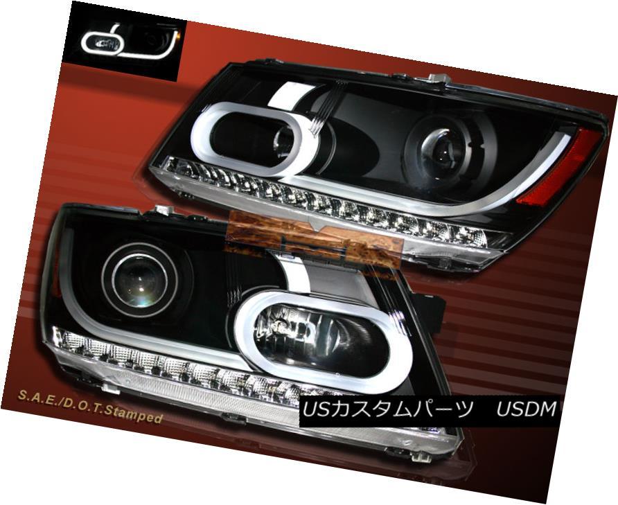 ヘッドライト 09-15 DODGE JOURNEY PROJECTOR w / LED PLANK STYLE HEADLIGHTS BLACK CLEAR AMBER 09-15ダーク・ジャーニー・プロジェクター(LEDプランク・スタイル・ヘッドライト・ブラック・クリア・アンバー)