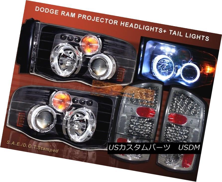 ヘッドライト 02 - 05 DODGE RAM 1500 HALO PROJECTOR HEADLIGHTS BLACK + LED TAIL LIGHTS SMOKE 02 - 05 DODGE RAM 1500ハロープロジェクターヘッドライトブラック+ LEDテールライトSMOKE