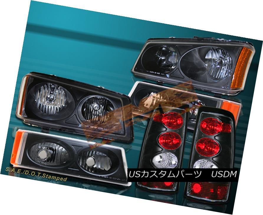 ヘッドライト 2003-06 SILVERADO 1500/2500 HEADLIGHTS + BUMPER LIGHTS + JDM BLACK TAIL LIGHTS 2003-06 SILVERADO 1500/2500ヘッドライト+バンパーライト+ JDMブラックテールライト