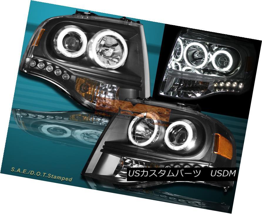 ヘッドライト 2007-2013 FORD EXPEDITION TWO HALO LED PROJECTOR HEADLIGHTS CCFL BLACK 2007年?2013年フォード・エキスプレス2ハロン・LEDプロジェクターヘッドライトCCFL BLACK