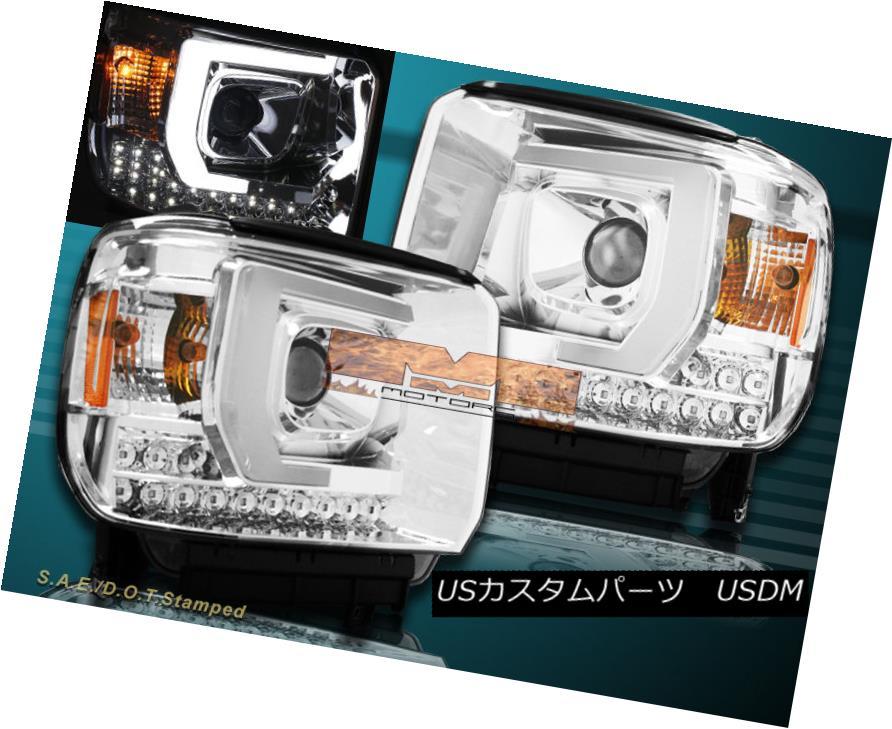ヘッドライト 14-15 GMC Sierra 1500 2500HD 3500HD Pickup LED Bar Projector Headlights Chrome 14-15 GMC Sierra 1500 2500HD 3500HDピックアップLEDバープロジェクターヘッドライトクローム