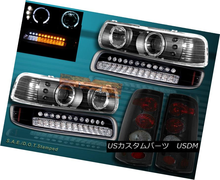 ヘッドライト 99-02 CHEVY SILVERADO PROJECTOR HEADLIGHTS HALO+ BUMPER LIGHTS LED+ TAIL LIGHTS 99-02チェビーシルバードプロジェクターヘッドライトハロー+バンパーライトLED +テールライト