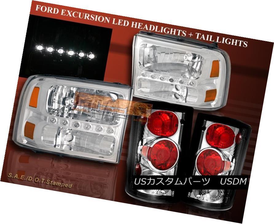 ヘッドライト 2000 - 2004 FORD EXCURSION CHROME CLEAR LED HEADLIGHTS AND TAIL LIGHTS COMBO 2000年?2004年フォードエクスプレッションクロームLEDヘッドライトとテールライトをクリア