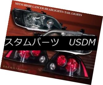 ヘッドライト 2002-2003 MITSUBISHI LANCER ES/LS/OZ JDM BLACK HEADLIGHTS + BLACK TAIL LIGHTS 2002-2003三菱ランサーES / LS /オズJDMブラックヘッドライト+ブラックテールライト