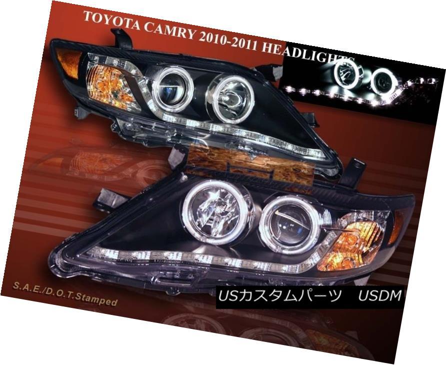 ヘッドライト 10-11 TOYOTA CAMRY PROJECTOR HEADLIGHTS 2 BLACK CCFL HALO W/ LED STRIP SEDAN 4DR 10-11トヨタキャリープロジェクターヘッドライト2ブラックCCFLハローW / LEDストリップセダン4DR