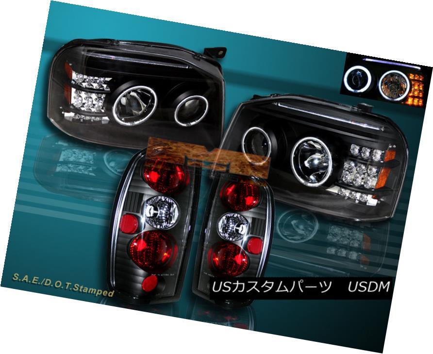 ヘッドライト FIT FOR 01-04 FRONTIER CCFL TWIN HALO PROJECTOR HEADLIGHTS BLK LED+TAIL LIGHTS 01-04フロンティアCCFLツインハロープロジェクターヘッドライトBLK LED +テールライト用