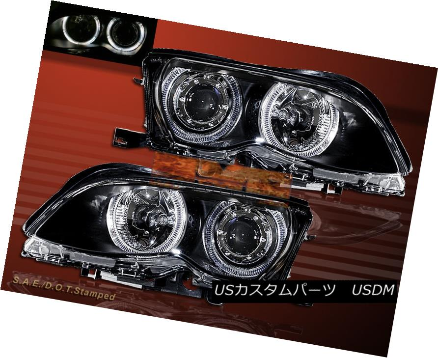 ヘッドライト 2002-2005 BMW E46 3-SERIES 4DR SEDAN DUAL HALO PROJECTOR BLACK HEADLIGHTS 2002-2005 BMW E46 3シリーズ4DRセダンデュアルハロープロジェクターブラックヘッドライト