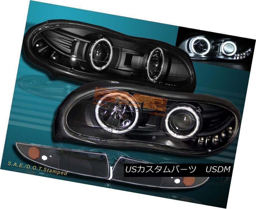ヘッドライト 98-02 Black Chevy Camaro CCFL Halo Projector Headlights + Bumper Lights NEW 98-02ブラックシェビーカマロCCFLハロープロジェクターヘッドライト+バンパーライトNEW