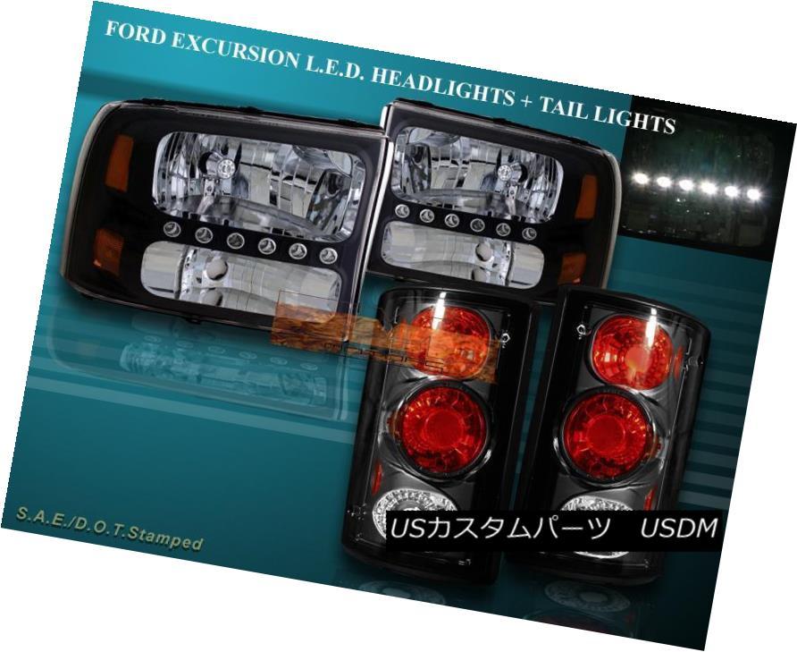 ヘッドライト 2000 - 2004 FORD EXCURSION BLACK LED HEADLIGHTS + TAIL LIGHTS COMBO 2000年?2004年フォードエクスカーションブラックLEDヘッドライト+テールライトコンボ