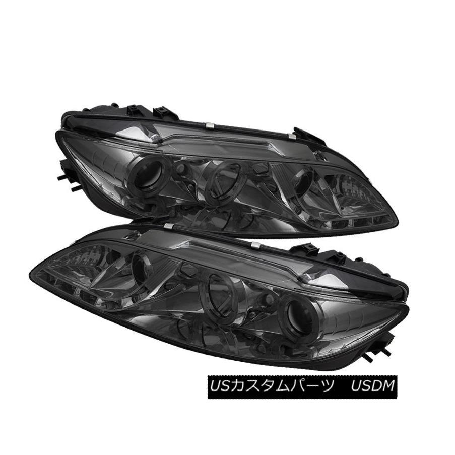 ヘッドライト Mazda 03-06 6 DRL LED Smoke Dual Halo Projector Headlights Lamps Pair Set マツダ03-06 6 DRL LEDスモークデュアルヘイロープロジェクターヘッドライトランプペアセット
