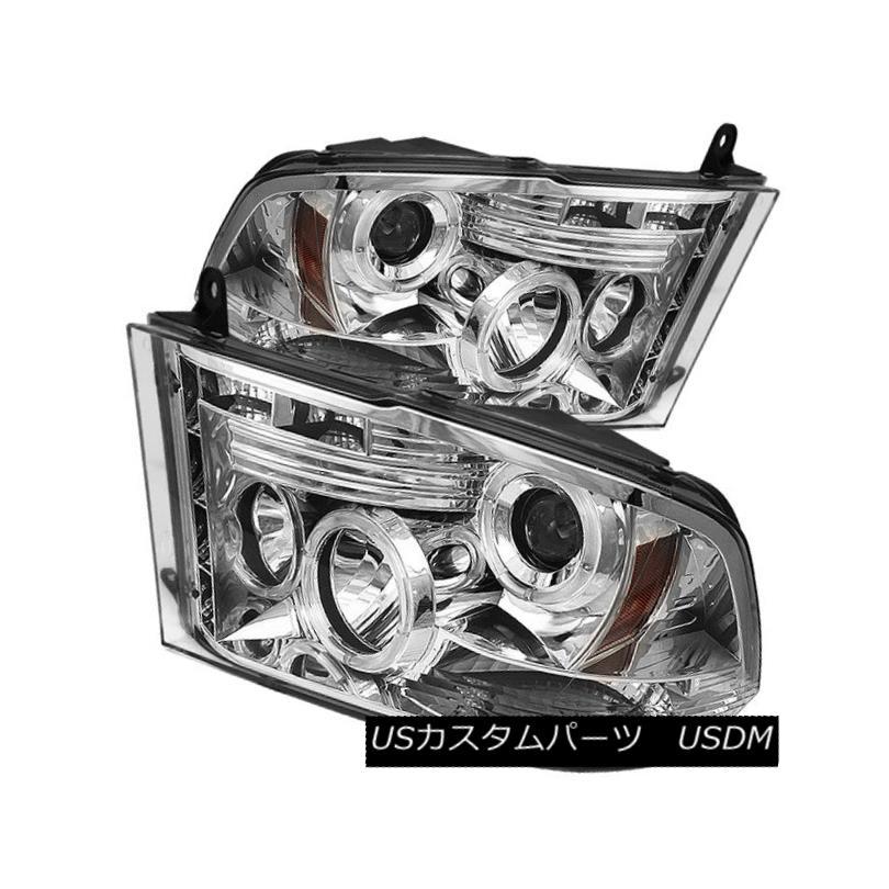 ヘッドライト Dodge 2009-2016 Ram 1500 2500 3500 Chrome Dual Halo LED Projector Headlights ドッジ2009-2016 Ram 1500 2500 3500クロームデュアルハローLEDプロジェクターヘッドライト