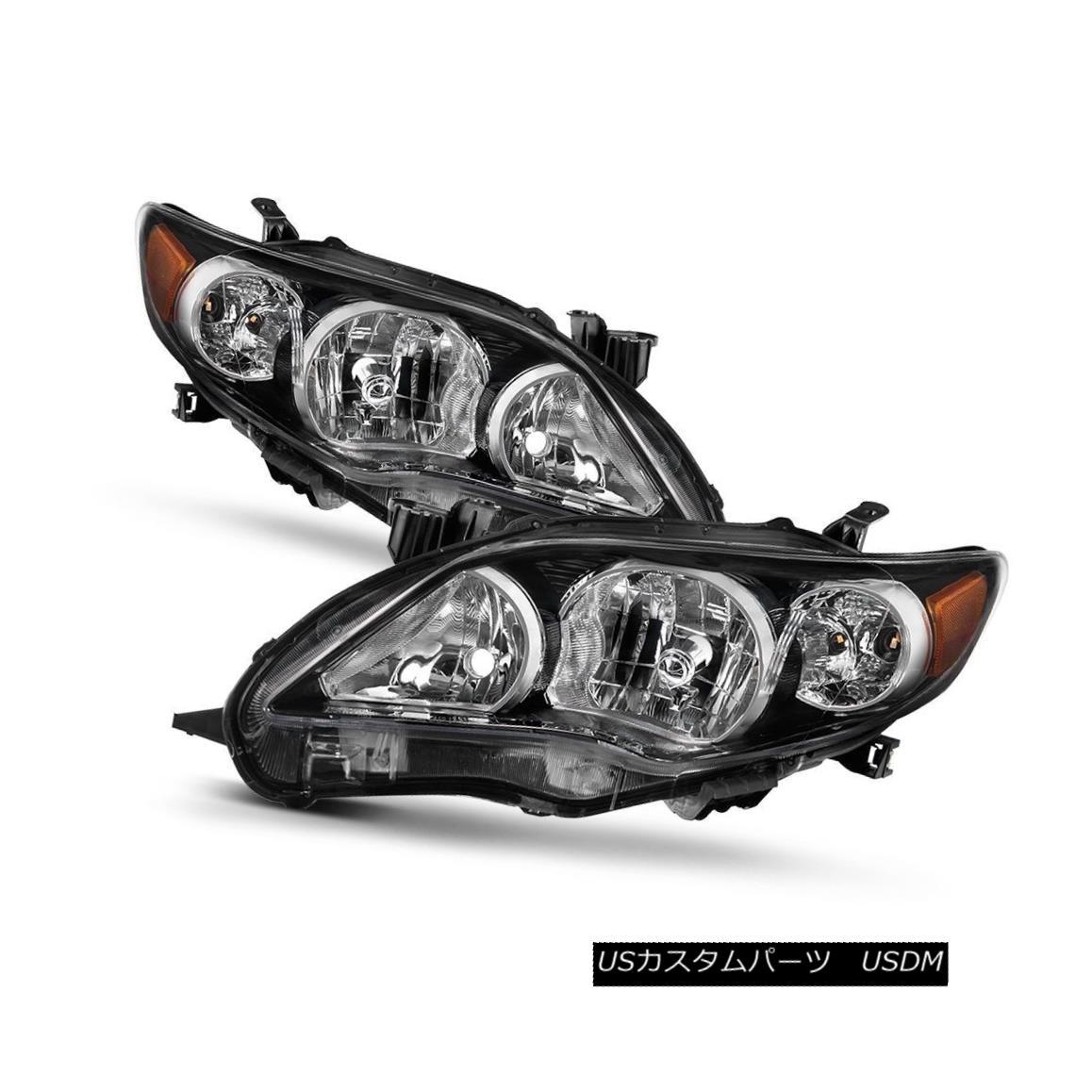 ヘッドライト Toyota 11-13 Corolla Black Housing Replacement Headlights Pair Set CE LE XLE トヨタ11-13カローラブラックハウジング交換ヘッドライトペアCE LE XLE