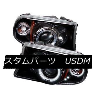 ヘッドライト Dodge 97-04 Dakota / Durango Black CCFL Dual Halo LED Projector Headlights ドッジ97-04ダコタ/デュランゴブラックCCFLデュアルハローLEDプロジェクターヘッドライト