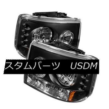 ヘッドライト Chevy 99-02 Silverado 00-06 Tahoe Suburban Black LED Headlights Bumper 1-Piece シボレー99-02シルバラード00-06タホー郊外のブラックLEDヘッドライトバンパーワンピース