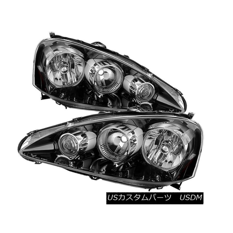 ヘッドライト Acura 05-06 RSX Black Housing Replacement Headlights Left + Right Pair Set Acura 05-06 RSXブラックハウジング交換ヘッドライト左右セット