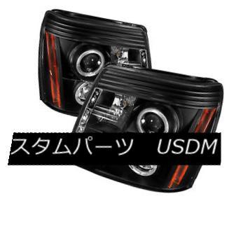 ヘッドライト Cadillac 03-06 Escalade Black DRL Halo LED Projector Headlight Factory HID Model キャデラック03-06エスカレードブラックDRLハローLEDプロジェクターヘッドライトファクトリーHIDモデル