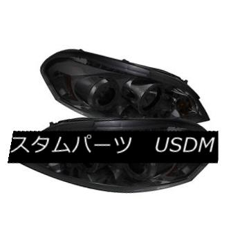 ヘッドライト Chevy 06-13 Impala Smoke DRL Dual Halo LED Projector Headlights LT LS LTZ SS シボレー06-13インパラスモークDRLデュアルハローLEDプロジェクターヘッドライトLT LS LTZ SS