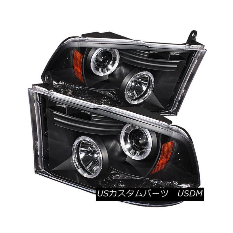 ヘッドライト Dodge 2009-2016 Ram 1500 2500 3500 Black Dual Halo LED Projector Headlights ドッジ2009-2016ラム1500 2500 3500ブラックデュアルハローLEDプロジェクターヘッドライト