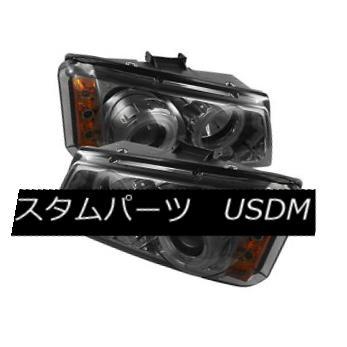ヘッドライト Chevy 03-06 Silverado /Avalanche CCFL Smoke Dual Halo LED Projector Headlights Chevy 03-06 Silverado / Avalanche CCFLスモークデュアルハローLEDプロジェクターヘッドライト