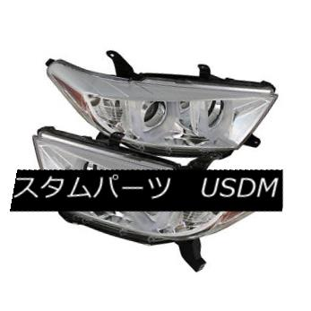 ヘッドライト Toyota 11-13 Highlander Chrome Dual Halo LED Projector Headlights Lamp トヨタ11-13ハイランダークロムデュアルハローLEDプロジェクターヘッドランプ