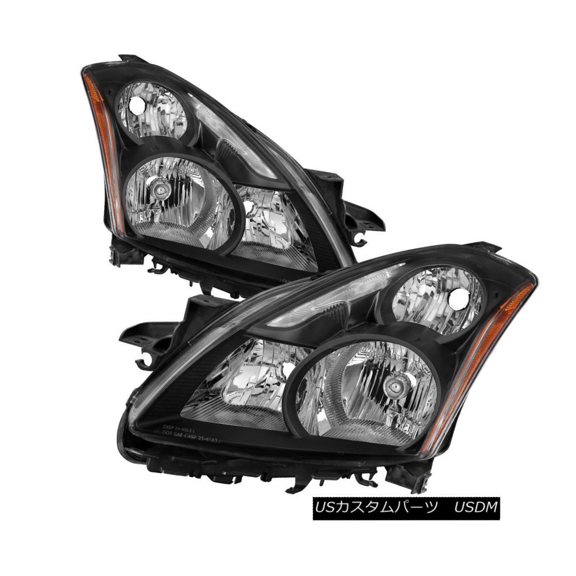 ヘッドライト Fit Nissan 10-12 Altima 4Dr Sedan Black Housing Replacement Headlights S SR SL フィット日産10-12アルティマ4Drセダンブラックハウジング交換用ヘッドライトS SR SL