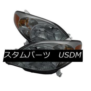 ヘッドライト Toyota 03-08 Matrix Smoke Lens Replacement Headlights Pair Set XRS XR Base トヨタ03-08マトリックススモークレンズ交換ヘッドライトペアXRS XRベース
