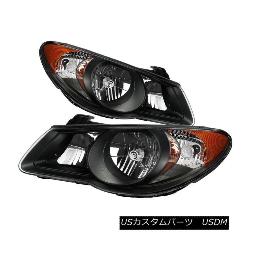ヘッドライト Fit Hyundai 07-10 Elantra Black Housing Replacement Headlights Pair Set フィットヒュンダイ07-10 Elantraブラックハウジング交換ヘッドライトペアセット
