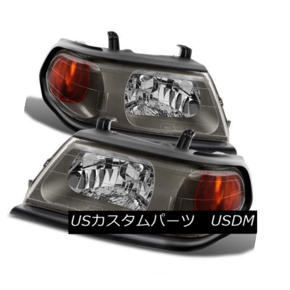 ヘッドライト Mitsubishi 00-04 Montero Sport Black Housing Replacement Headlights Pair Set 三菱自動車00-04モンテロッソスポーツブラックハウジング交換ヘッドライトペアセット