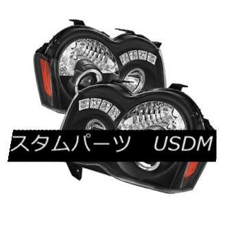 ヘッドライト Jeep 08-10 Grand Cherokee Black DRL Dual Halo LED Projector Headlights Lamp ジープ08-10グランドチェロキー黒DRLデュアルハローLEDプロジェクターヘッドライトランプ