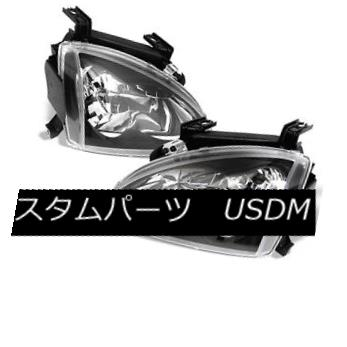 ヘッドライト Honda 93-97 Del Sol Black Headlights Lamps Direct Replacement Set S Si Vtec Honda 93-97 Del Solブラックヘッドライトランプダイレクト交換セットS Si Vtec