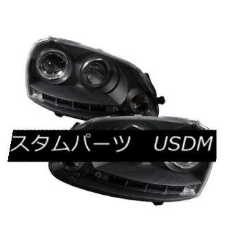 ヘッドライト Volkswagen 06-09 GTI /Jetta /Rabbit Black Dual Halo LED Projector Headlights フォルクスワーゲン06-09 GTI /ジェッタ/ウサギブラックデュアルハローLEDプロジェクターヘッドライト