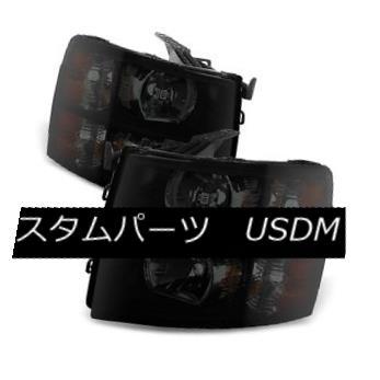 ヘッドライト 07-14 Silverado Black Housing Smoke Lens Replacement Headlights 1500 2500 3500 07-14 Silveradoブラックハウジングスモークレンズ交換用ヘッドライト1500 2500 3500