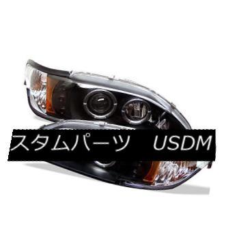 ヘッドライト Ford 94-98 Mustang Black Dual Halo LED Projector Headlights Lamp Base SVT GT フォード94-98ムスタングブラックデュアルハローLEDプロジェクターヘッドライトランプベースSVT GT