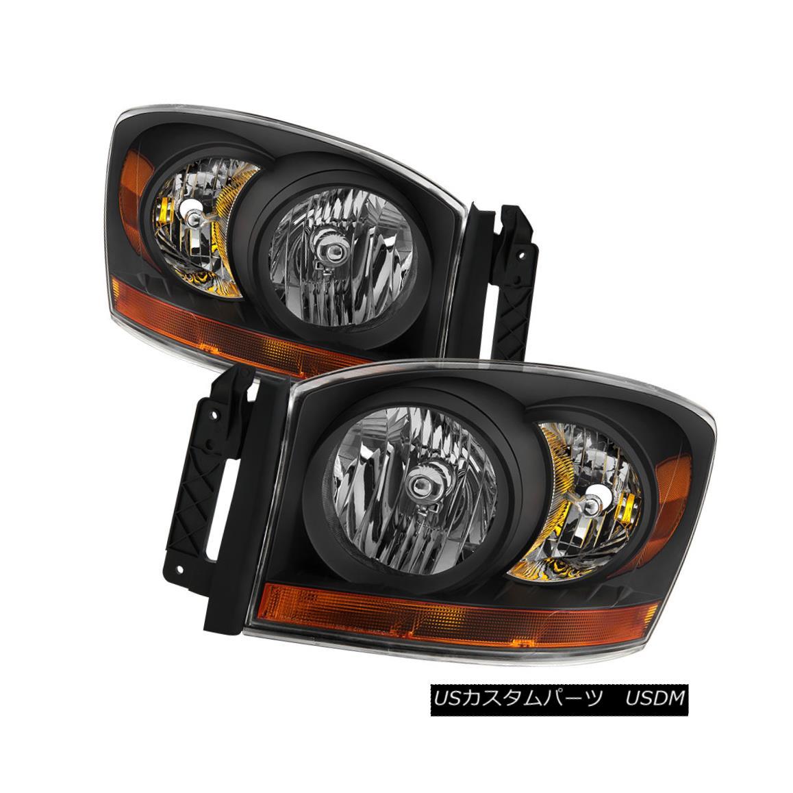 ヘッドライト Dodge 07-08 Ram 1500 2500 3500 Black Housing Replacement Headlights Pair Set ドッジ07-08ラム1500 2500 3500ブラックハウジング交換ヘッドライトペアセット