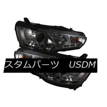 ヘッドライト Mitsubishi 08-15 Lancer Evo X Smoke DRL LED Projector Headlight Factory HID Only 三菱08-15ランサーエボX煙DRL LEDプロジェクターヘッドライト工場HIDのみ